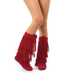 Nothing sweeter than getting an animal friendly, vegan, designer-inspired boots for a fraction of the cost! These knee high boots are a must for all your favorite outfits. Skirts, shorts, skinny jeans, a must have for cuteness overload! Features faux suede, three tier fringes, side zipper, and cushioned insole for walking comfort.