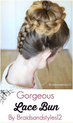 Gorgeous Upside-down Lace Braid Bun Updo Hairstyle by Braidsandstyles12 . Tutorial : https://www.youtube.com/channel/UC8ouEGIBm1GNFabA_eoFbOQ: