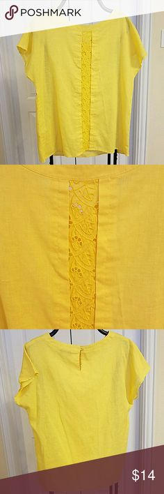 Cute  yellow blouse size L feels like a M Used 3 times only perfect  for the beach or for a under jacket shirt. Fabric  is very light and is a very comfortable shirt size is L but it feel a size M.  Check my other  items  I do bundle. Tops Blouses
