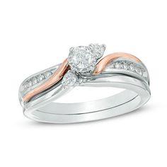 1/3 CT. T.W. Diamond Three Stone Slant Bridal Set in 10K Two-Tone Gold