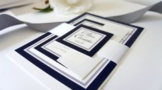 Our navy blue wedding invitation is perfect for an elegant yet modern look. Can be customized to any color to reflect your wedding! By KraftWeddingPapers #navyblue #navywedding
