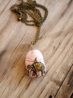 So cute. Rose quartz elephant bohemian necklace on Etsy!