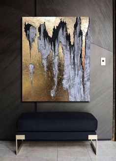 ***This painting is smaller than appears in the photo DETAILS Title: Abstract Black&Gold Artist: Alexandra Dumitrescu Size: cm) Year: 2017 Style: Modern, Abstract Canvas: High quality stretched canvas - ready to hang Painting larger than Gold Leaf Art, Gold Wall Art, Large Painting, Oil Painting On Canvas, Art Feuille D'or, Diy Canvas, Canvas Art, Large Canvas, Art Sur Toile