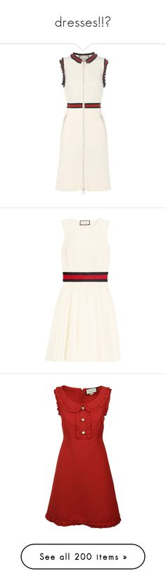 """dresses!!👗"" by katerinagou14 ❤ liked on Polyvore featuring dresses, white, white day dress, gucci, gucci dress, twill dress, white dresses, short flare dress, a line dress and short a line dresses"