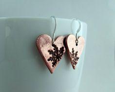 Copper Heart Earrings Copper Earrings Snowflake by ShineOnShopUK Etsy Christmas, Christmas Items, Best Christmas Gifts, Handmade Christmas, Christmas 2017, Etsy Handmade, Handmade Crafts, Handmade Items, Copper Earrings
