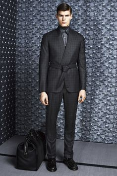 Brioni - Fall 2014 Menswear - Style.com / Making the suit work with a Japanese call-back? Maybe... maybe