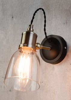 Copper Wall Light, Bedside Lighting, Wall Lighting, Industrial Wall Lights, Electrical Fittings, Kitchens And Bedrooms, Glass Shades, Sconces, Bulb
