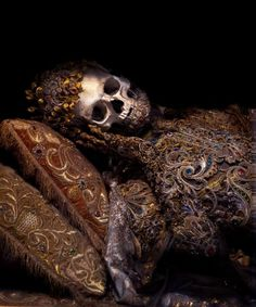 Jeweled skeletons from the 1600's, taken from the catacombs of Rome in the 17th century, the relics of twelve martyred saints were then attired in the regalia of the period before being interred in a remote church on the German/Czech border