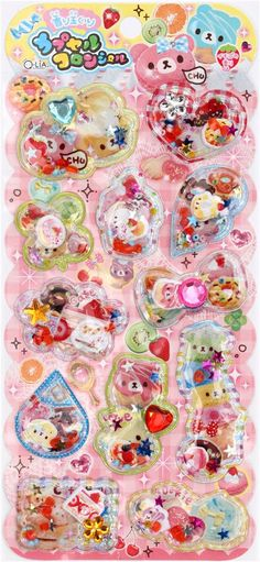 glitter capsule stickers with bears sweets kawaii 2