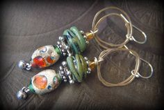 Green Glass, Foil Glass,Lampwork Glass, Organic, Rustic, Earthy, Sterling Silver Hoops, Fall, Autumn Jewelry, Beaded Earrings by YuccaBloom on Etsy