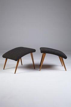 Pair of stools, anonymous, Denmark. 1950's.