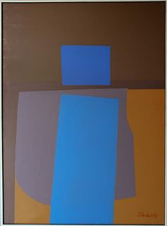 JACK SHADBOLT (CANADIAN, 1909-1998) TRANSPOSITION IN BLUE, 1964 Oil and lucite on canvas: 47 1/4 x 34 3/4 in.