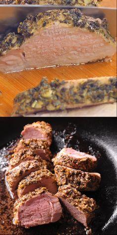 Garlic Mustard Pork Tenderloin is crispy on the outside and juicy on the inside! Garlic Mustard Pork Tenderloin is crispy on the outside and juicy on the inside! Leftover Pork Tenderloin, Pork Tenderloin Medallions, Pork Tenderloin Oven, Mustard Pork Tenderloin, Pork Roast In Oven, Roast Chicken And Gravy, Roast Brisket, Oven Recipes, Pork Recipes