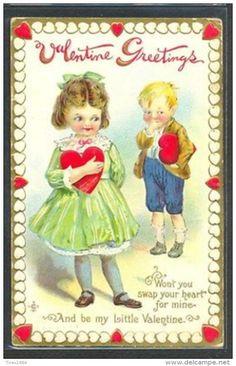 LE152 VALENTINE BRUNDAGE ? ENFANTS COEUR Gaufrée CHILDREN HEART GOLD Embossed - Illustrateurs & Photographes