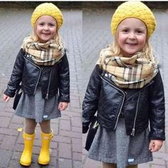 Baby Boys and Girls short Jacket 0-5 years old Fashion Leisure Faux Leather Coat Motorcycle leather International hot brand Fashion Kids, Kids Winter Fashion, Baby Girl Fashion, Fall Winter Outfits, Toddler Fashion, Toddler Girl Fall, Toddler Girl Dresses, Leather Jacket Outfits, Little Girl Outfits