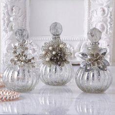 Vintage reproduction perfume bottles in assorted designs. Each bottle measures: 5 34 H x Diy Bottle, Bottle Art, Bottle Crafts, Vodka Bottle, Glamour Decor, Antique Perfume Bottles, Vintage Perfume Bottles, Bottles And Jars, Glass Bottles