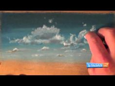 how to draw clouds and sky with chalk or soft pastels on tone brown paper.
