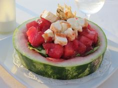 Watermelon feta salad with chili dressing