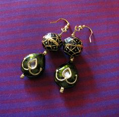 Handmade earrings Leaf shaped with Kundan by Chitrasjewelart, $19.00