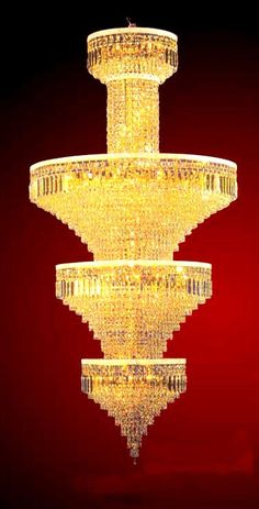 iron golden finish large crystal chandelier 78 lights ESLC0012 - Large Chandelier - Chandeliers - Eshine Large Chandeliers, Crystal Chandeliers, Large Crystals, Interior And Exterior, Swarovski, Ceiling Lights, Crib, Design, House