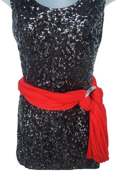 Need a way to change up the look of your seasonal party dress? Seen here The Tiffie Forever Scarf as a belt with a bangle bracelet. $40 www.TheTiffie.com