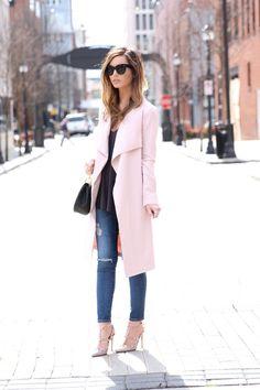 c7efd9b3da72 Blush Pink Duster + Black Bralette For All Things Lovely waysify Pink  Bralette