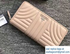 Prada Quilted Leather Zip Wallet 1ML506 Apricot 2018