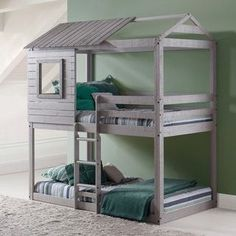 Donco Kids Loft-Style Light Grey Twin over Twin Bunk Bed | Overstock.com Shopping - The Best Deals on Kids' Beds #Sharedkidsrooms