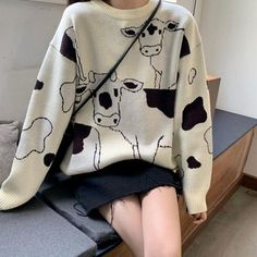 Vintage Casual Loose Lazy Cow Sweater Female Korean Harajuku Women's Sweaters Japanese Kawaii Cute Ulzzang Clothing For Women Cute Casual Outfits, Pretty Outfits, Mode Outfits, Fashion Outfits, Fasion, Fashion Tips, Style Fashion, Quirky Fashion, Fashion Images