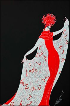 Russian-born, Paris-bred artist Erté (Romain de Tirtoff) produced lithographs in 1968; they were immediately admired and loved by artists.