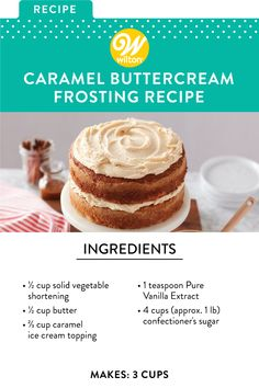 We've swirled satiny caramel topping into classic buttercream mixture to create this rich Caramel Buttercream Frosting. You're going to love this Caramel Buttercream Recipe! Cake Filling Recipes, Icing Recipes, Fun Baking Recipes, Sweet Recipes, Cake Recipes, Dessert Recipes, Strawberry Frosting Recipes, Caramel Buttercream Frosting, Cake Frosting Recipe