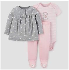 Baby Girls  3pc Cardigan Set - Just One You® made by carter s Gray Pink Bear 2e045d877