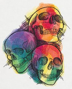Rainbow Skull Trio | Urban Threads: Unique and Awesome Embroidery Designs