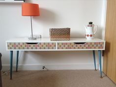 a colorful Ekby Alex shelf hack with blue legs and decoupage drawers will fit an… – Home Office Wallpaper Small Home Office Desk, Small Home Offices, Modern Desk, Modern Spaces, Mid-century Modern, Ikea Alex Series, Ekby Ikea, Rental House Decorating, Decoupage Drawers