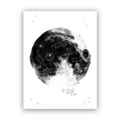 "Look at the moon at anytime with this beautiful black and white illustration from Baltic Club®. The seas and craters are beautifully illustrated and labeled in French. Inkjet printing on matte paper. 18"" x 24""."