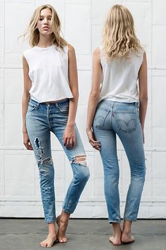 The Pinterest 100: Fashion. WhoWhatWear on jeans that combine vintage aesthetic and modern fit.