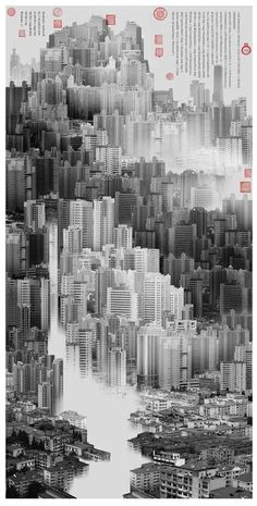 The scenes created by Shanghai-based artist Yang Yongliang follow the composition rules of traditional Chinese Shan shui paintings but reinterpret them through the modern medium of photography. The pictures work on a double level: from far away they appear as mountainous landscapes in continuity...