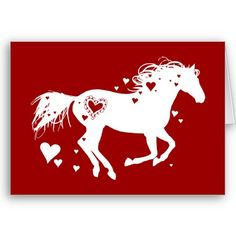 cute horse lover equestrian valentine's day greeting card with a galloping horse and red and white heart theme.