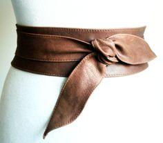 Distressed Brown Leather Obi Belt tulip tie| Waist or Hip Belt | Real Leather Belt| Handmade Belt | Wrap Belt