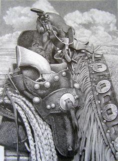 "Cowgirls with Guns Pencil Drawings | Drawing : ""Cowboy Gear"" (Original art by Joe Belt)"