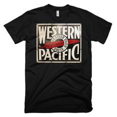 Western Pacific Feather River Route Railroad Train Unisex Tee Mens or Womens Short sleeve t-shirt Railway tshirt