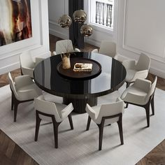Enjoy the warmth and solidity of wood or the cool and brightness of lacquer. The Berkeley dining table represents clean, incisive design. The recessed pedestal base sits firmly underneath a solid round top. Round Dinning Table, Dinning Table Design, Dinning Room Tables, Dining Room Furniture, Home Furniture, Furniture Design, Dining Area, Black Glass Dining Table, Modern Furniture