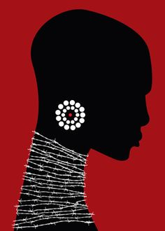Fabian Donoso via  poster for tomorrow.  African woman with neck jewelry art illustration in red, black, and white.