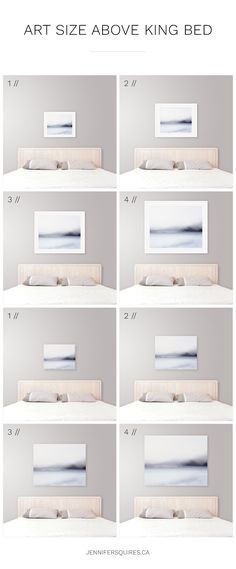 Ideal Art Size Above King Bed - Modern Coastal Bedroom Decor Tips Ideal Art Size Above King Bed // Modern Coastal Bedroom Decor Tips // Ideas and inspiration for art size above a king size bed Bedroom Wall Art Above Bed, Artwork Above Bed, Above Bed Decor, Bedroom Artwork, Bedroom Decor, Master Bedroom, Bedroom Pictures Above Bed, Bedroom Bed, Art Over Bed