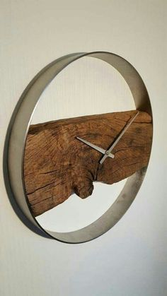 Wood steel Clock