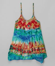 Love this Red & Turquoise Tie-Dye Shift Dress - Girls by India Boutique on #zulily! #zulilyfinds