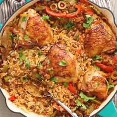 One Pot Puerto Rican Chicken and Rice - An incredible chicken meal that would excite your taste buds.