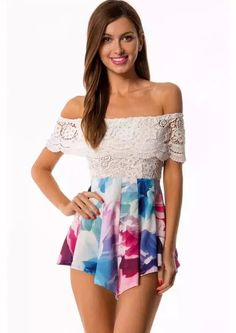 aa6f02ace77 Cute Lace Print Romper Jumpsuit. Luulla
