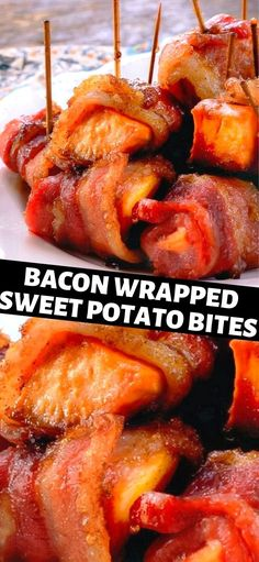 These flavor packed treats are perfect for snacks, parties or football games, huh… think Super Bowl Party! Adults and kids alike will love Bacon Wrapped Sweet Potato Bites…Enjoy! Sweet Potato Wrap, Sweet Potatoe Bites, Potato Bites, Yummy Recipes, Gourmet Recipes, Healthy Recipes, Game Recipes, Healthy Snacks, Recipies