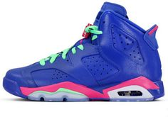 Nike Air Jordan AJ6 Retro Jordan 6 Basketball Shoes Womens Shoes Treasure Blue Green And Pink Leather|only US$98.00 - follow me to pick up couopons.